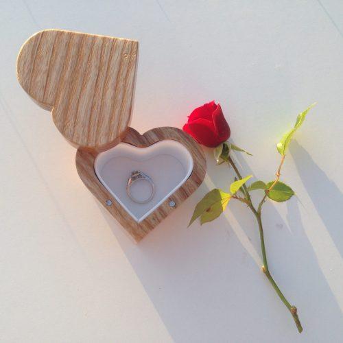 Heart shaped proposal ring box